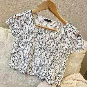 ZARA White Lace Crop Top